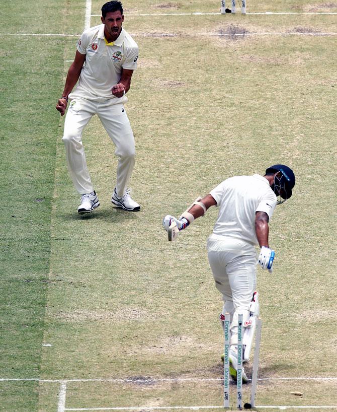 Mitchell Starc celebrates after dismissing India opener Murali Vijay