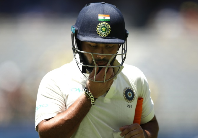 Rishabh Pant looks dejected after being dismissed by Nathan Lyon on day five of the second Test