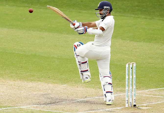 Ajinkya Rahane bats during the first Test in Adelaide. Photograph: Ryan Pierse/Getty Images