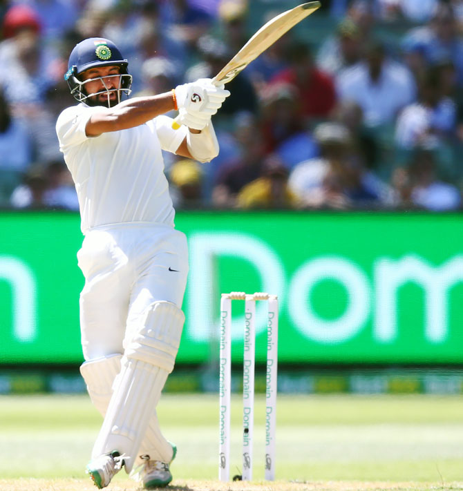 Cheteshwar Pujara bats on Day 1 of the MCG Test, December 26, 2018. Photograph: Michael Dodge/Getty Images