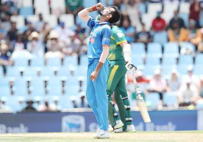 India's Yuzvendra Chahal celebrates after claiming the wicket of South Africa's Chris Morris during the 2nd One-Day International at Supersport Park Cricket Ground in Centurion on Sunday