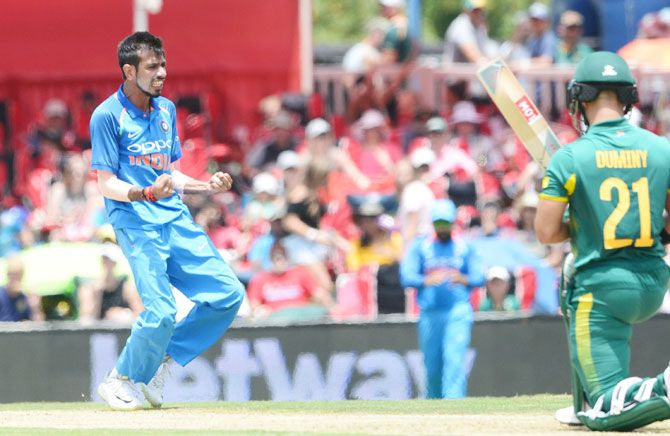 Yuzvendra Chahal celebrates after dismissing JP Duminy