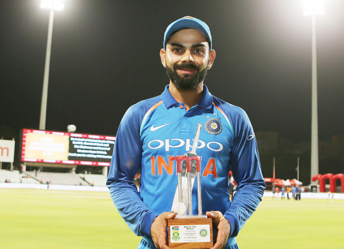 Virat Kohli was adjudged Man of the Match for his 160 not out