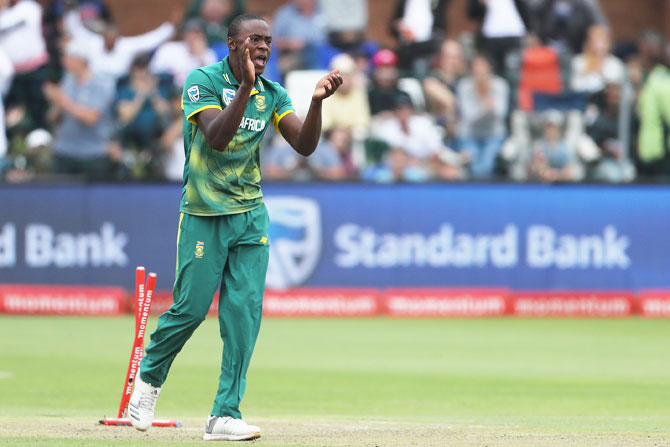Kagiso Rabada celebrates as Ajinkya Rahane is run out