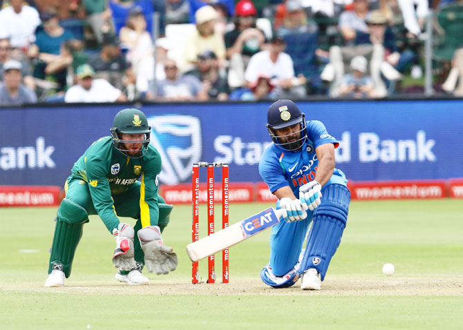 Rohit Sharma bats en route his match-winning knock of 115