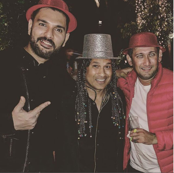 Yuvaj Singh, Sachin Tendulkar and Ajit Agarkar at a New Year's Eve party on Sunday
