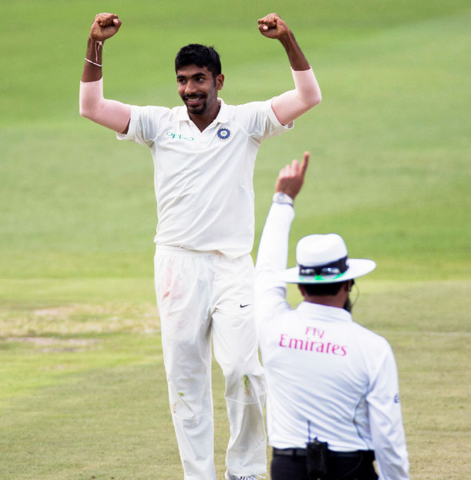 Jasprit Bumrah celebrate his maiden 5 wickets in Test cricket in the third and final Test against South Africa at the Wanderers, January 25, 2018. Photograph: James Oatway/Reuters