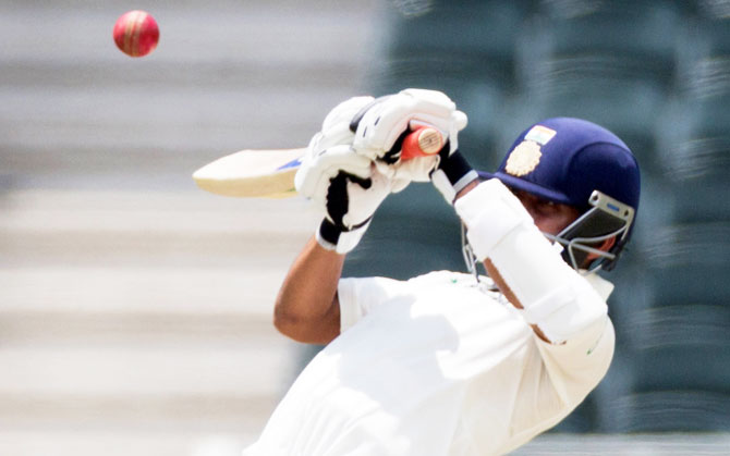 Ajinkya Rahane, not picked for the first two Tests, played some sublime shots in the Indian second innings in difficult conditions in the third Test. Photograph: James Oatway/Reuters