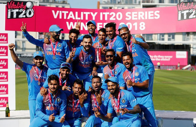 India celebrate victory after their T20 series win over England on Sunday