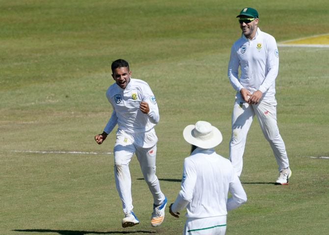 South Africa's Keshav Maharaj celebrates a wicket
