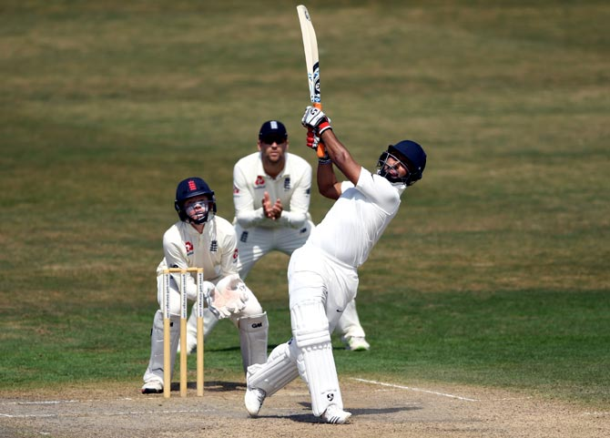 Rishabh Pant became the first Indian wicket-keeper to score a hundred in England during the Oval Test. Photograph: Gareth Copley/Getty Images