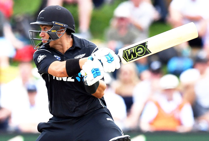 New Zealand opener Ross Taylor bats during his knock of 181, the fourth fastest ODI century, against England in Dunedin on Wednesday