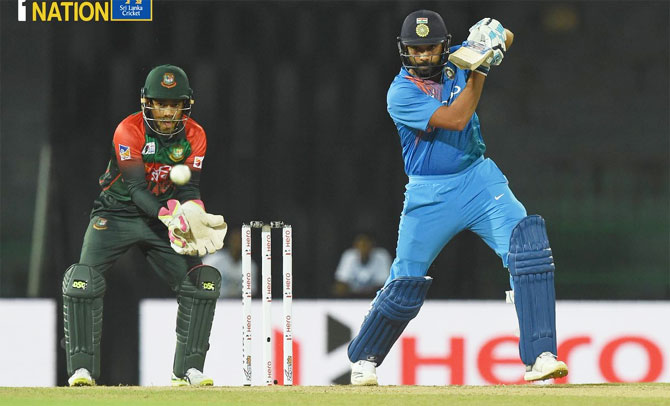 Rohit Sharma bats during his innings of 89 off 61 balls