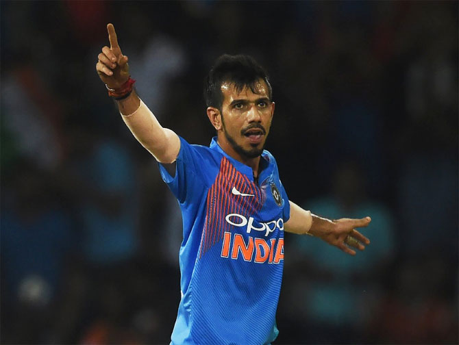 Yuzvendra Chahal celebrates on claiming a wicket