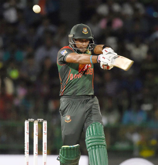 Bangladesh's Sabbir Rahman plays a shot during his innings of 77 runs