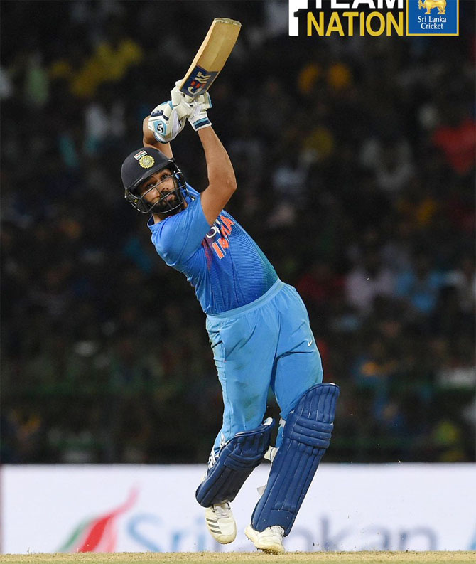Rohit Sharma bats en route his knock of 56
