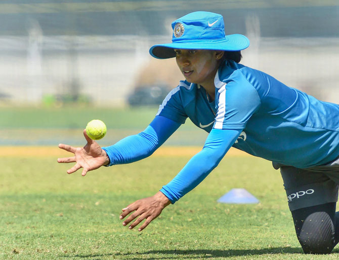 India's Mithali Raj at a practice session at the CCI Brabourne Stadium in Mumbai on Wednesday, the eve of the 1st T20 against Australia