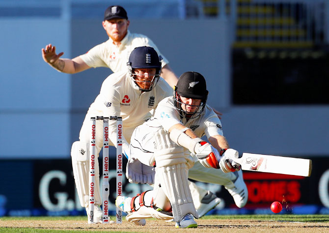 New Zealand's Tom Latham plays a shot on Day 1 of the first Test match against England at Eden Park in Auckand on Thursday