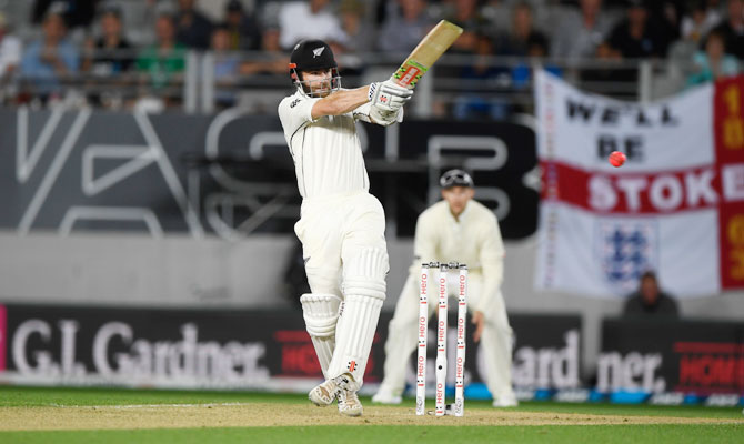 New Zealand's batsman Kane Williamson hits out during the first Test at Eden Park in Auckland on Thursday