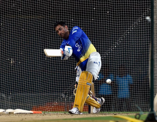Mahendra Singh Dhoni during a CSK training session