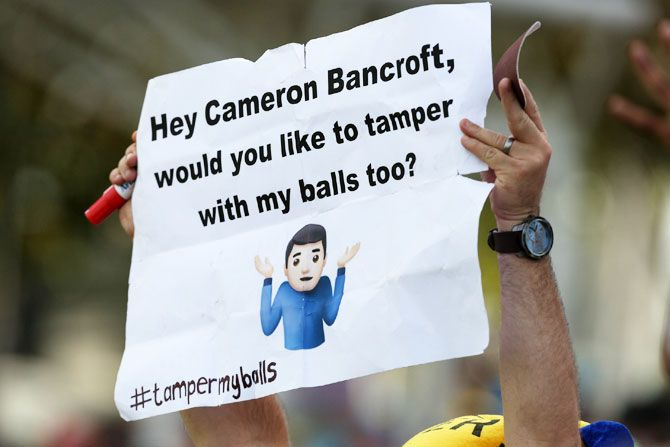 A fan present on Day 4 of the 3rd Sunfoil Test match between South Africa and Australia at PPC Newlands on Sunday, has a special request for Cameron Bancroft