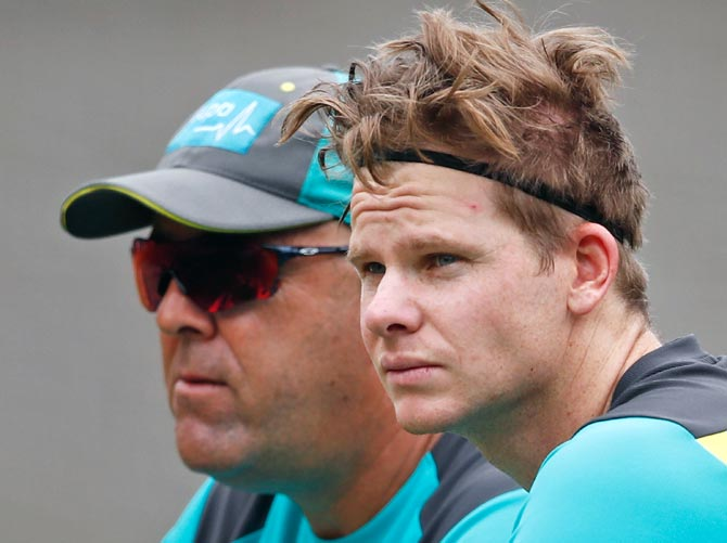 Darren Lehmann, left, with Steve Smith