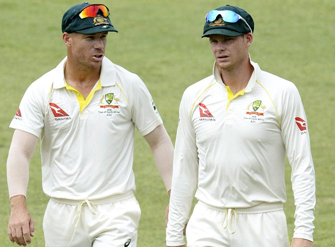 Steve Smith, right, and vice-captain David Warner were banned for their roles in the ball-tampering scandal that broke out in March