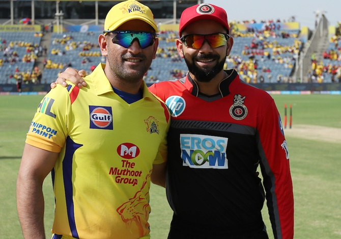 Chennai Super Kings Captain Mahendra Singh Dhoni with Virat Kohli, before the CSK-RCB game in Pune, May 5, 2018.Photograph: BCCI