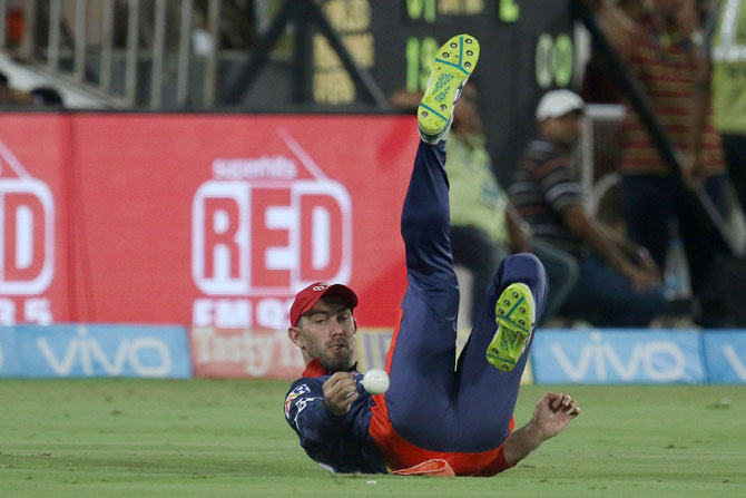 Delhi Daredevils' Glen Maxwell puts down the catch to give Sunrisers Hyderabad's Alex Hales a reprieve