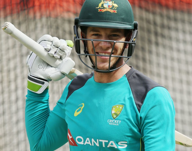 Tim Paine looks on during the Australian nets session