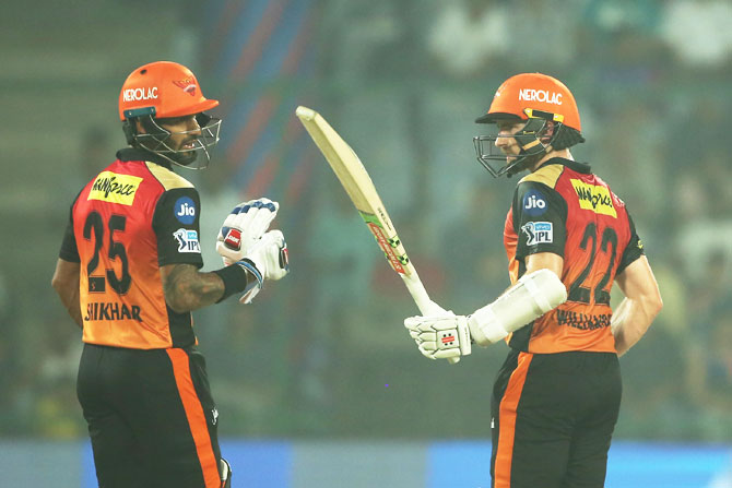 Shikhar Dhawan and Kane Williamson shared a 176-run stand to power Sunrisers Hyderabad to victory