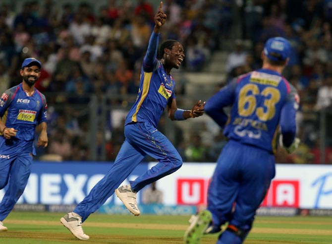 A delighted Jofra Archer after dismissing Mumbai Indians captain Rohit Sharma