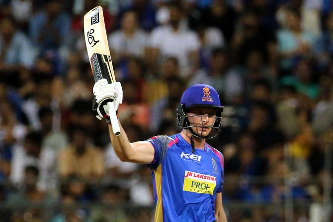 Rajasthan Royals opener Joss Buttler celebrates completing a record fifth successive IPL half-century