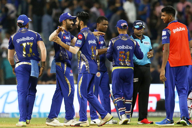 Mumbai Indians celebrate after defeating Kings XI Punjab