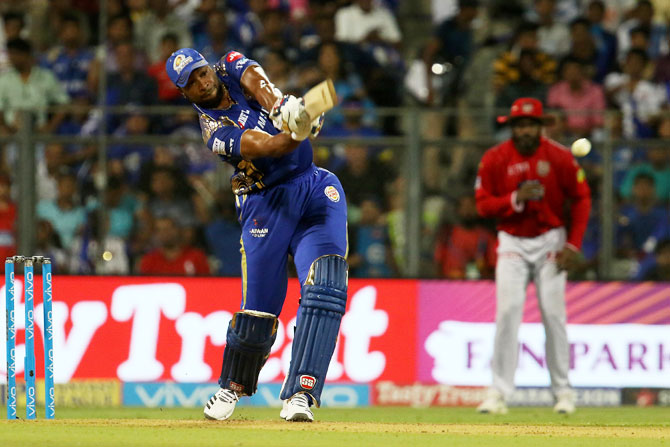 MI's Kieron Pollard scored a powerful half-century against Kings XI Punjab