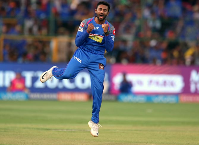 Shreyas Gopal celebrates the wicket of Moeen Ali.