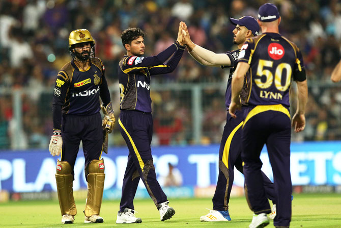Kolkata Knight Riders' Kuldeep Yadav celbrates the wicket of Rajasthan Royals captain Ajinkya Rahane on Wednesday