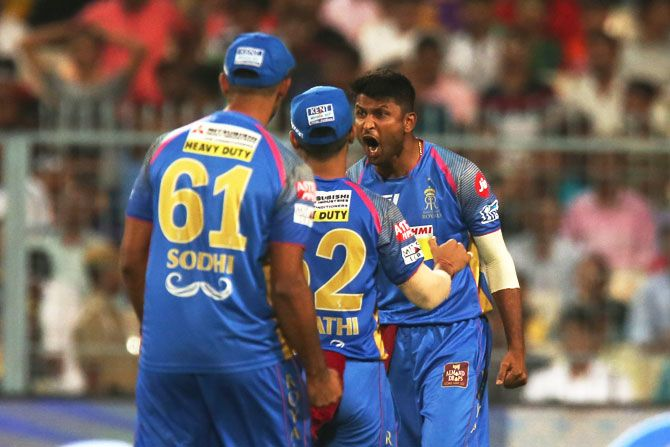 Gowtham Krishnappa celebrates after taking the wicket of Sunil Narine