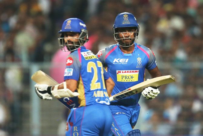 Ajinkya Rahane and Sanju Samson run between wickets