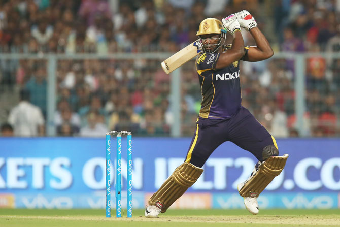 Andre Russell propped KKR's score to 169 for 7 with 49 off 25 balls