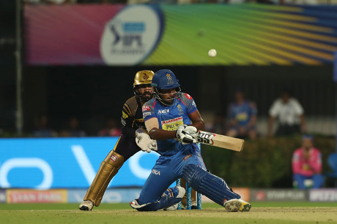 Sanju Samson plays a shot during his half-century against KKR