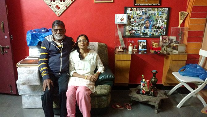 Leela and Dorai Raj at their home in Secunderabad, Telangana. Photograph: Vaihayasi Pande Daniel/Rediff.com
