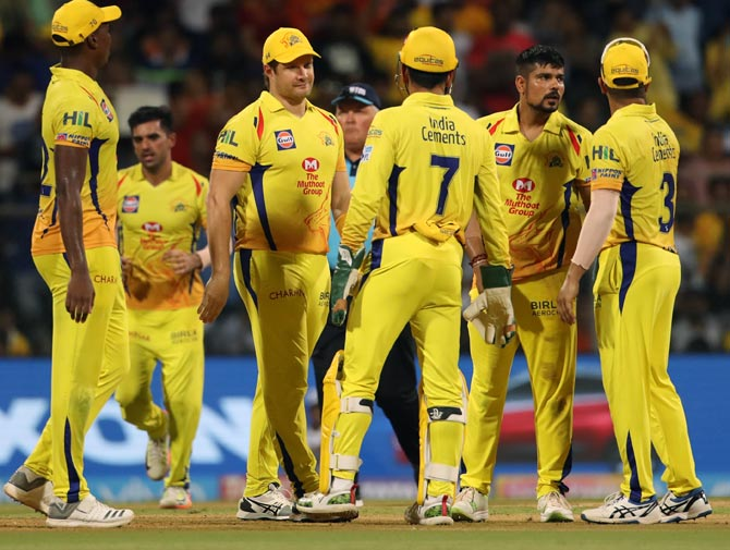 CSK players celebrate a wicket