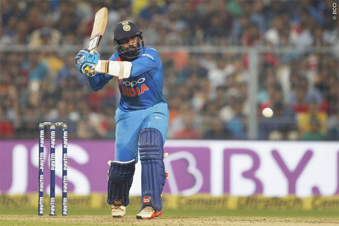 Rediff Cricket - Indian cricket - 1st T20I PIX: Debutant Krunal shines as India stagger to 5-wicket win