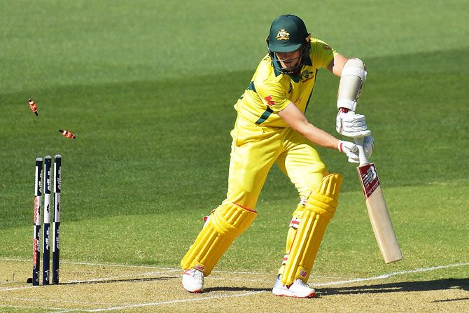 Australia's Pat Cummins is bowled by South Africa's Dale Steyn
