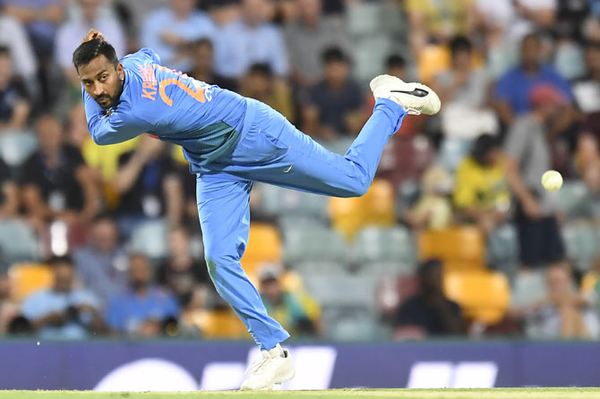 Krunal Pandya went wicketless in the first T201 at the Gabba in Brisbane