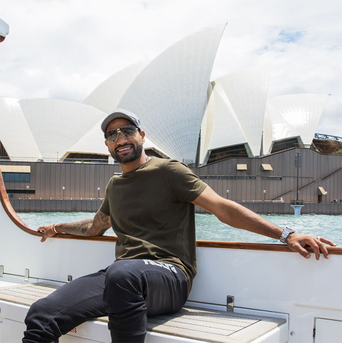 Shikhar Dhawan, who was the highest run-getter in the just concluded T20I series, soaks in some Sydney sun