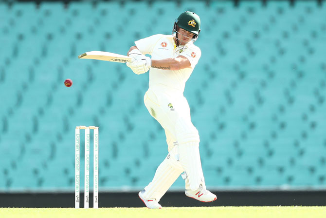 Cricket Australia XI's D'Arcy Short top-scored with 74 off 91 ball, scoring 11 boundaries in his innings