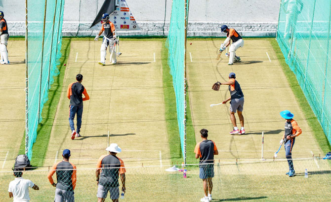 The Indian cricket team practice at a nets session in Rajkot on Tuesday