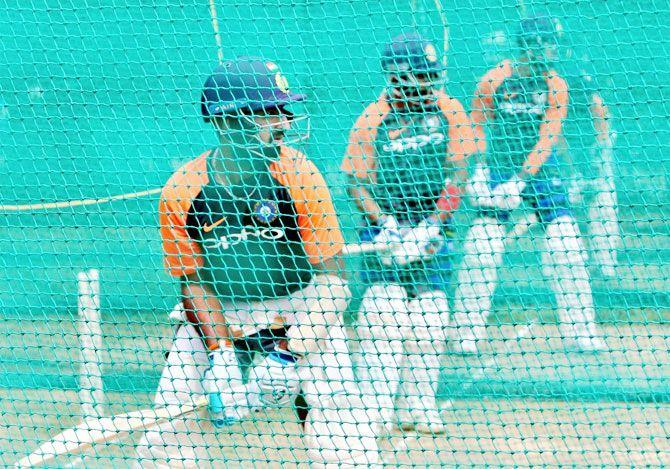 Cheteshwar Pujara during a India nets session